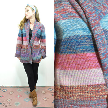Vintage MultiColor Cardigan • Bell Sleeves • 1970s • Sweater • Large