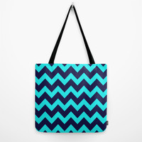 Chevron Navy Turquoise Tote Bag by Beautiful Homes