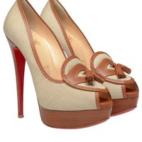 Browns fashion & designer clothes & clothing | CHRISTIAN LOUBOUTIN | 'Campus' canvas platform pumps