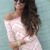 Cozy Aztec Sweater {Peach}