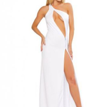 White Single Shoulder Cut Out Zipper Gown