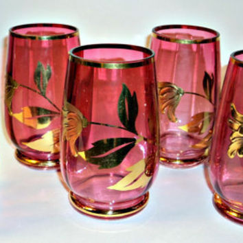 6 Cranberry Glass Drinking Glasses Antique Cranberry Glass Gold Guilt Paint
