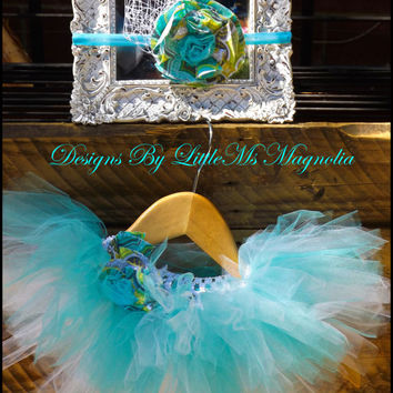 "Baby Girl Tutu and Headband Set ""Little Blue Box Tutu"", Teal, Tiffany Blue Tutu For Little Girls Birthday"