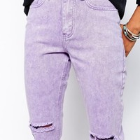 Liquor & Poker Boyfriend Jeans With All Over Distressing