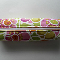 Fabric Boxed Pencil, Craft or Cosmetics Case, in Summer Flower Box