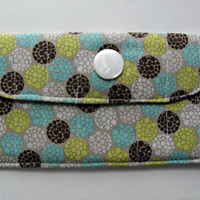 Fabric Wallet Clutch with Pearl White Button, in Spring Wedding Flower Bouquet