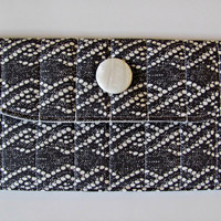 Fabric Wallet Clutch with Pearl White Button, in Smokey Grey Lace