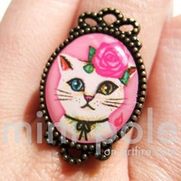 Adjustable Kitty Cat with multi colored eyes Animal Ring