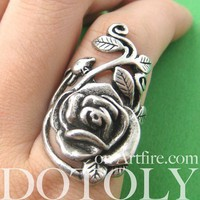 Simple Rose Floral Wrap Ring in Silver - Sizes 5 to 7 Available