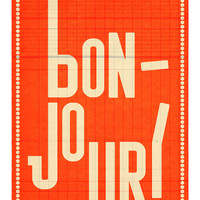 Bonjour (orange). Extra Large illustration print 16.50 x 23.4 (A2). Big Poster. Greeting in French.