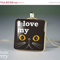 ON SALE: quotes jewelry pendant,phrase resin pendants,art scrabble tile pendant,photo pendants,I love my cat- P0427Si