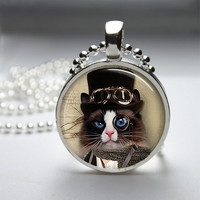 Round Glass Pendant Bezel Pendant Cat Pendant Steampunk Cat Necklace Photo Pendant Art Pendant With Silver Ball Chain (A3896)