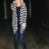 Stripes + Elbow Patch Cardi {Black}