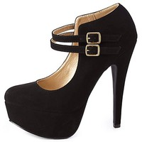 Double Mary Jane Platform Pumps by Charlotte Russe - Black