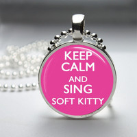 Glass Pendant Bezel Pendant Keep Calm And Sing Soft Kitty Pendant Big Bang Theory Necklace Photo Pendant Art Pendant Ball Chain (A3831)