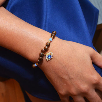 Evil Eye Charm Bracelet, Beaded Stretch Bracelet, Wood Beads, Gold Jewelry