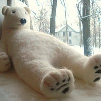 Big white wool polar bear -   45 cm - Handmade needle felted work - Gift - BinneBear collection