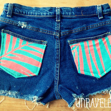 High Waist Jean Shorts (Size MEDIUM)