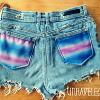 High Waisted Denim Shorts, Ethnic Tribal Pockets (Size -SMALL - MEDIUM)