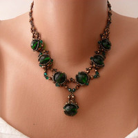 Green Necklace - Swarovski and Czech Cristal