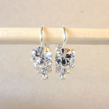 Multi-stone Swarovski crystal earrings, clear crystal, lever-backs, bridal, Designer inspired Siggy