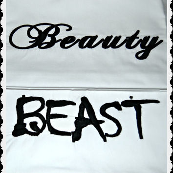 Beauty and Beast Custom Pillow Cases, Custom Embroidered Pillow Cases