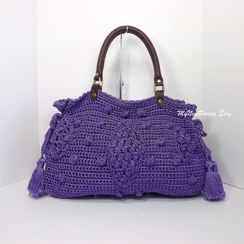 ON SALE Crochet Lavender celebrity style handbag with genuine leather handles