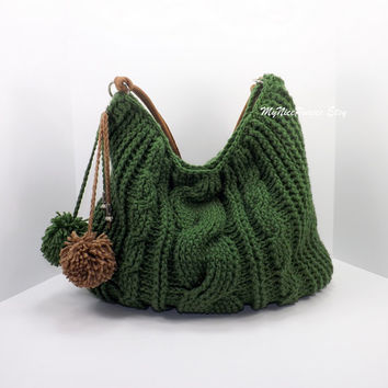 ON SALE Crochet over sized green hobo bag, crochet beaded bag, pompom hobo bag, crochet shopper bag, crochet cable fashion hobo bag 2014