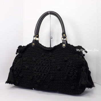 ON SALE Crochet Black celebrity style handbag with genuine leather handles