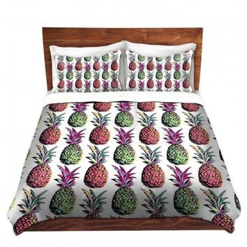 DiaNoche Designs Unique Decorative Designer Duvet Covers and Shams | Organic Saturation's Pineapple Party