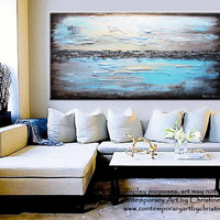 "GICLEE PRINT Art Abstract Painting Blue Modern Canvas Prints Urban Aqua Brown White City Home Wall Decor xl LARGE sizes up to 60"" -Christine"