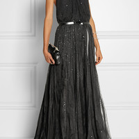 Donna Karan - Embellished silk-chiffon and silk-organza halterneck gown