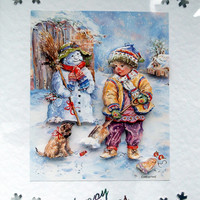 Christmas Card - Happy Christmas Hand-Crafted 3D Decoupage Card - Happy Christmas (1796)