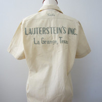 "50s Cream Texas Bowling Shirt w/ Name Embroidery ""Shirley"", S-M // Vintage Rockabilly Blouse"