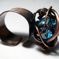 Copper ring with blue swarovski  crystal. Free shipping