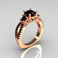 Modern French Bridal 14K Rose Gold Three Stone 1.0 Carat Black Diamond Engagement Ring R140-14RGBDD