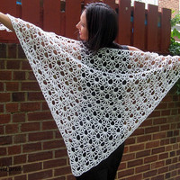 White hand crochet shawl