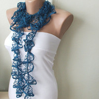 Teal Color Web lace Handmade Crochet Scarf