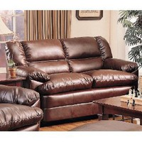 Harper Loveseat in Rich Brown Leather by Coaster Furniture