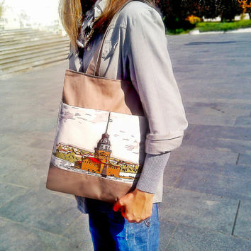 Tote Bag - Laptop Bag - Brown Handbag - Canvas Bag - gift Christmas - gift New Year