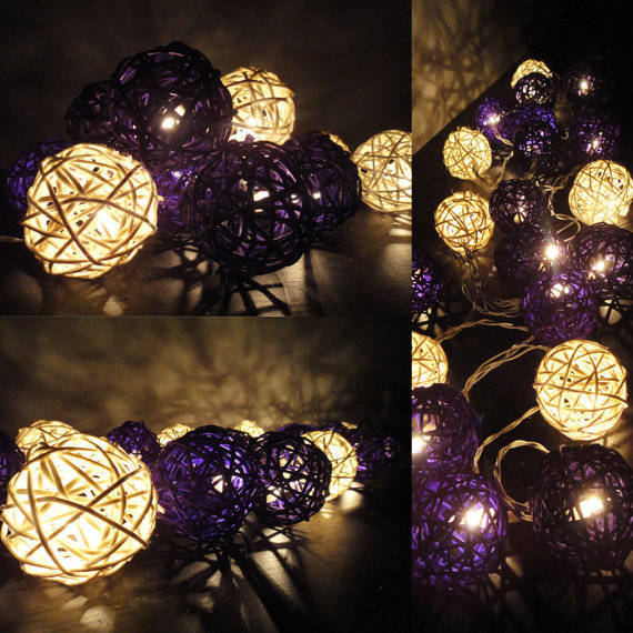 20 Mixed Purple Tone Handmade Rattan Balls Fairy String Lights Home Decor