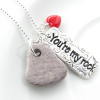 You're my rock fun romantic supportive gift for friend strength sterling silver necklace pendant