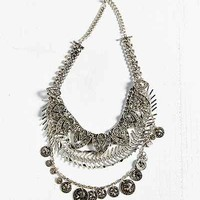 Rhinestone + Coin Layered Bib Necklace- Gold One