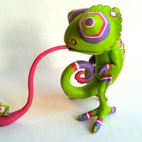 Designer Toy Chameleon with Fly, Toxic Version Green, pink, purple, Sculpture, Resin Figure, OOAK