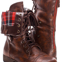 Dark brown/plaid combat boots