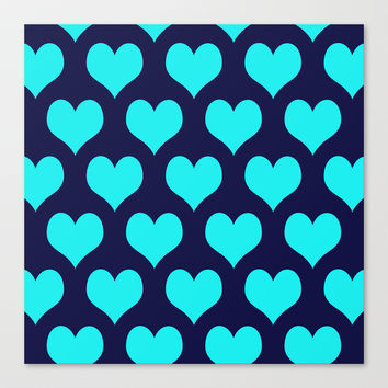 Hearts of Love Navy Turquoise Canvas Print by Beautiful Homes