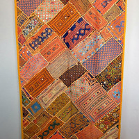 Vintage Ethnic INDIA Gujarati EMBROIDERED Abhala TAPESTRY Kuchy Wall Hanging Textile