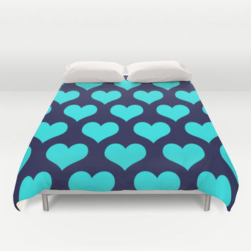 Hearts of Love Navy Turquoise Duvet Cover by Beautiful Homes