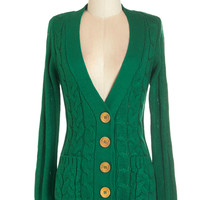 ModCloth Mid-length Long Sleeve Your Fireside of the Story Cardigan in Emerald