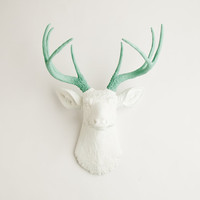 The Isabella - White W/ Seafoam Green Antlers Resin Deer Head- Stag Resin White Faux Taxidermy